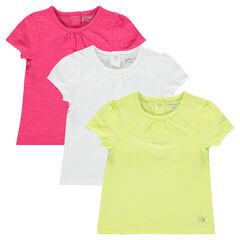 Set van 3 effen t- shirts met korte mouwen