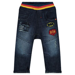 Jeans met used effect en bouclé badges van BATMAN