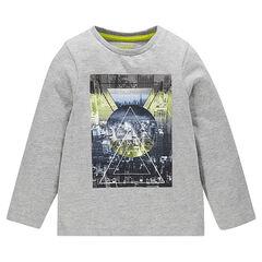 T-shirt lange mouwen in effen kleur fantasieprint