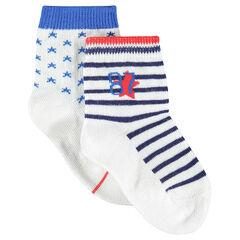 Lot de 2 paires de chaussettes rayées/imprimées