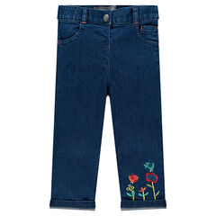 Jeans slim avec fleurs brodées