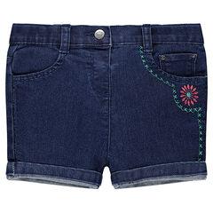 Jeansshort met borduurwerk
