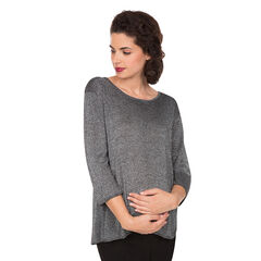 Pull de grossesse en lurex avec pans croisés au dos