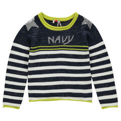 Pull marinière en tricot et fils argentés avec sequins fantaisie