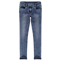 Junior - Slim-fit jeans van molton met denimeffect