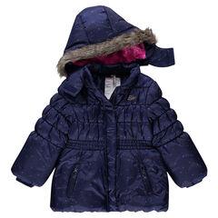 Donsjas met kap met sherpa voering riem met elastische
