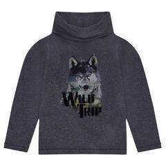 T-shirt met lange mouwen en print met wolf
