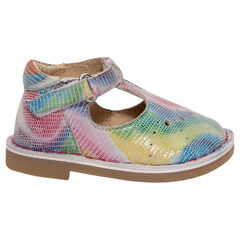 Salomés multicolores en cuir à scratch
