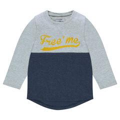 Junior - Tee-shirt manches longues bicolore avec print fantaisie