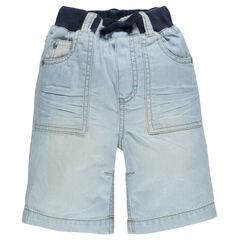 Bermuda jeansbroek elastische tailleband
