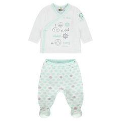 Pyjama van velours met ©Smiley Baby print