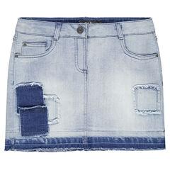 Junior - Korte jeansrok met fantasiepatches