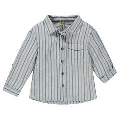 Chemise manches longues rayée avec poche