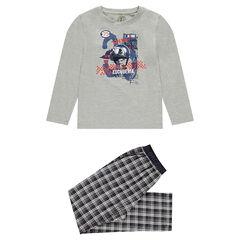 Junior - Pyjama met bovenstuk van jerseystof en onderstuk van flanel met ruiten