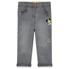 Slim-fit jeans met borduurwerk van Disney's Minnie