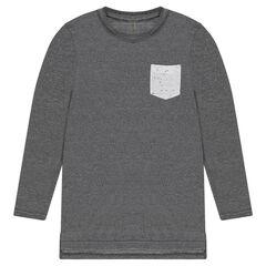 Junior - T-shirt met lange snit en met lange mouwen en zakje