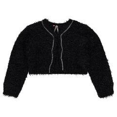 Korte vest van tricot met haartjes en blinkend effect met stressteentjes