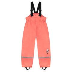 Pantalon de pluie imperméable à bretelles Disney Minnie doublé polaire