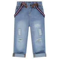Losse jeans met used effect en met verwijderbare bandjes