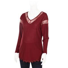 Tee-shirt manches longues de grossesse détails dentelle