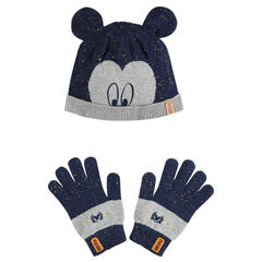 Bonnet et gants en tricot aspect neps Disney Mickey