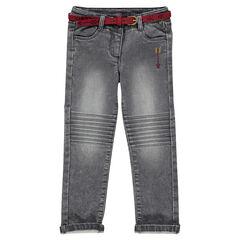 Slim-fit broek van molton met jeanseffect en riem van daim