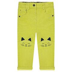 Pantalon en velours anis avec chat brodés