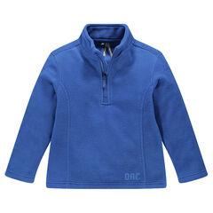 Sweatshirt in effen microfleece met ritssluiting