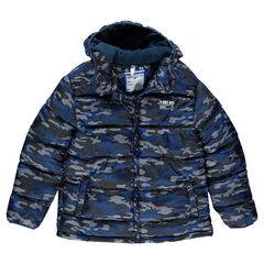 Junior - Doudoune motif army ouatinée à capuche doublée micropolaire