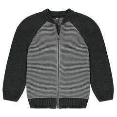 Junior - Gilet en tricot ottoman bicolore
