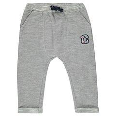 Pantalon de jogging en molleton esprit chevrons avec patch