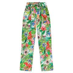 Junior - Soepele 7/8ste broek met tropische print