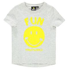 T-shirt met korte mouwen in gemêleerde jerseystof met ©Smiley print.