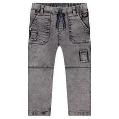 Jeans met sneeuwvlokeffect met Vikingbadge en patches met used effect