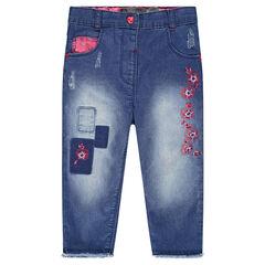 Jeans met patches en borduurwerk