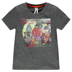 T-shirt korte mouwen in effen kleur fantasieprint