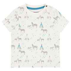 "T-shirt met korte mouwen en met zebra- en tipiprint ""all-over"""