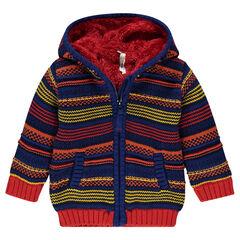 Jas met kap in tricot strep met sherpa voering