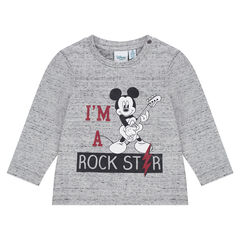 Tee-shirt manches longues en jersey neps Disney print Mickey