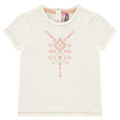 T-shirt met korte mouwen en print met pailletjes