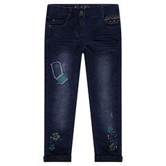 Rechte aansluitende jeans met patches en borduurwerk en voering van jerseystof