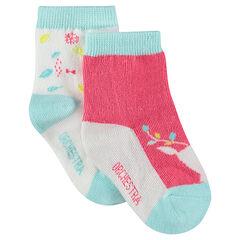 Lot de 2 paires de chaussettes assorties à motifs fantaisie