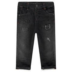 Jeans van molton met used effect en zakken