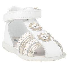 Lederen sandalen met bloemenpatches en print met sterren