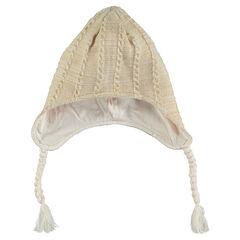 Bonnet péruvien en tricot fantaisie et pompons