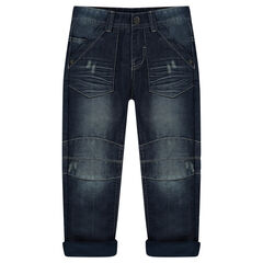 Jeans met used effect en voering van microfleece