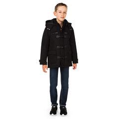 Junior - Duffle coat à capuche amovible et coudières à chevrons