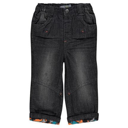 Jeans effet used avec doublure en jersey imprimé