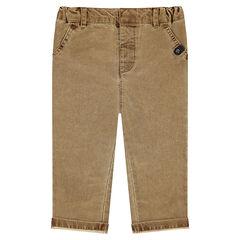 Pantalon en coton fantaisie doublé jersey