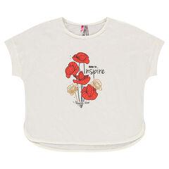 T-shirt met korte mouwen en linnen effect met print met klaprozen